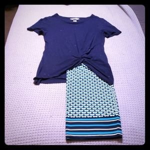 Tee and Skirt Outfit